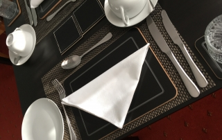Reusable cloth napkins at breakfast Queensberry House